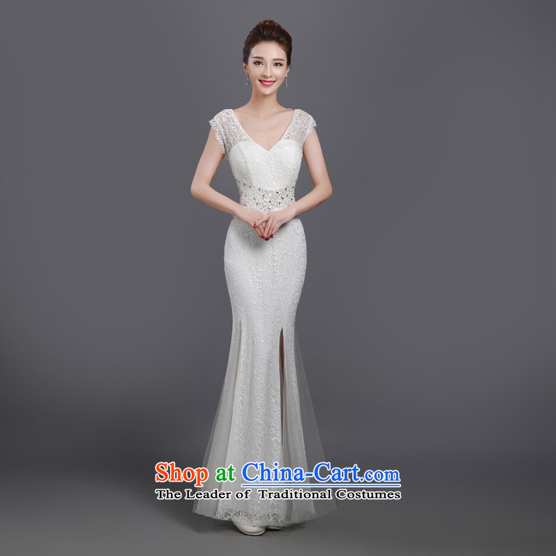 Evening dress long summer banquet Sau San short-sleeved mother evening dress wedding dress larger dinner evening dresses Ms. white聽m