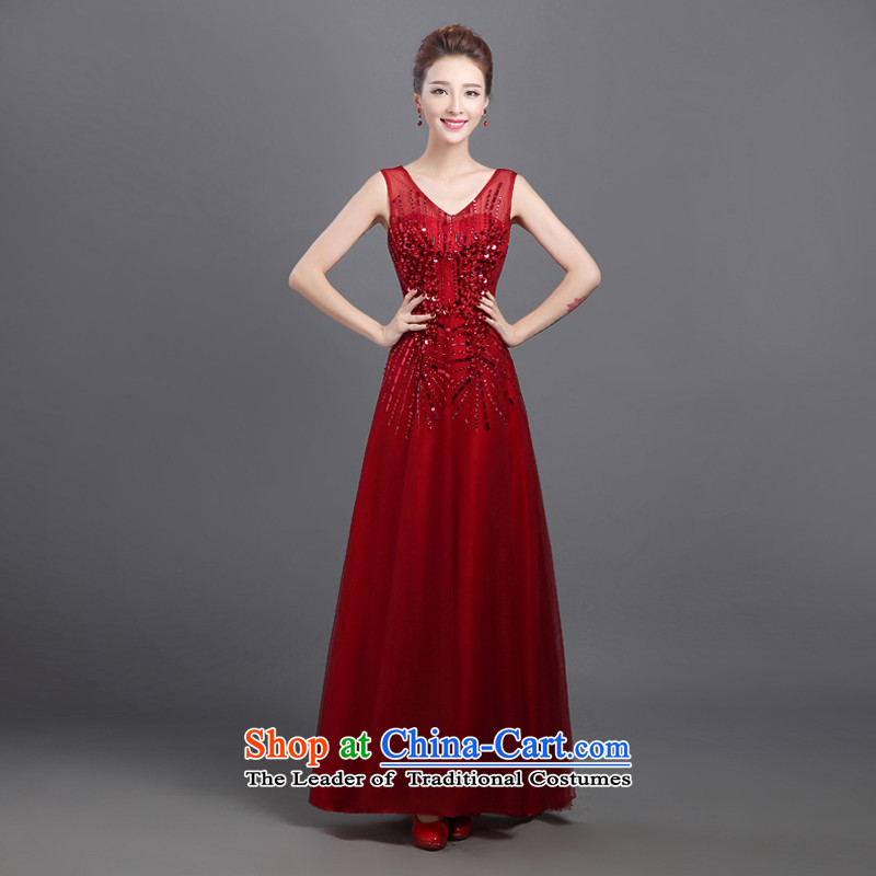 2015 new dress code word large shoulder length of lace moderator company dress evening dresses female annual red?s