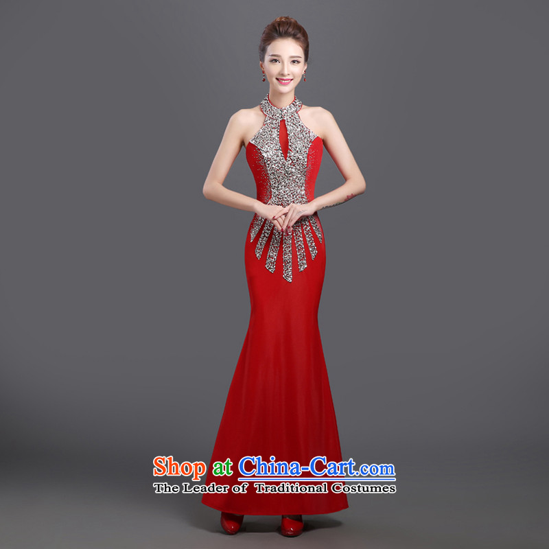 Evening dress new 2015 Annual long skirt crowsfoot banquet will serve the long winter bride bows of female red autumn�s