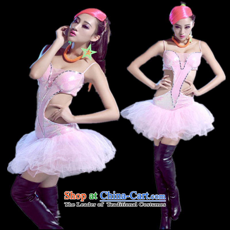 2015 new sexy body Yi Jazz Dance Dance Steel Pipe atmosphere DS opening jazz singer stage costumes dance costumes will stage dovetail pink M