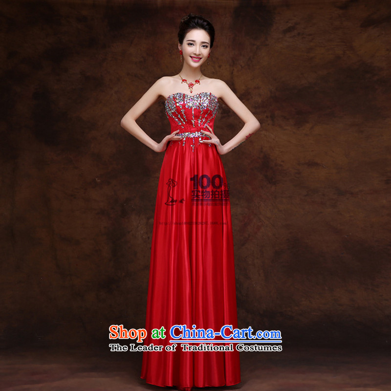 Charlene Choi Ling bride dress marriage services 2015 new bows stylish Sau San Red Diamond anointed chest bridesmaid evening dress red XXL