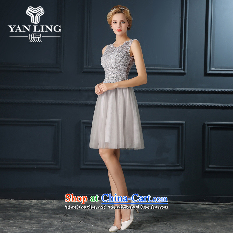 The shoulders, gray dress short, 2015 New fall under the auspices of small Female dress banquet party dress dresses autumn?s