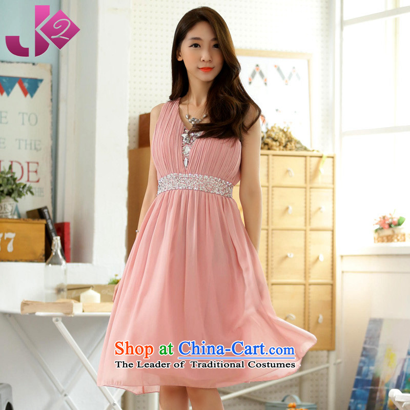 ?Manually staple pearl JK2 V-Neck elastic waist sleeveless chiffon dresses large gatherings show evening dresses bridesmaid skirt pink?3XL around 922.747 recommendation 175
