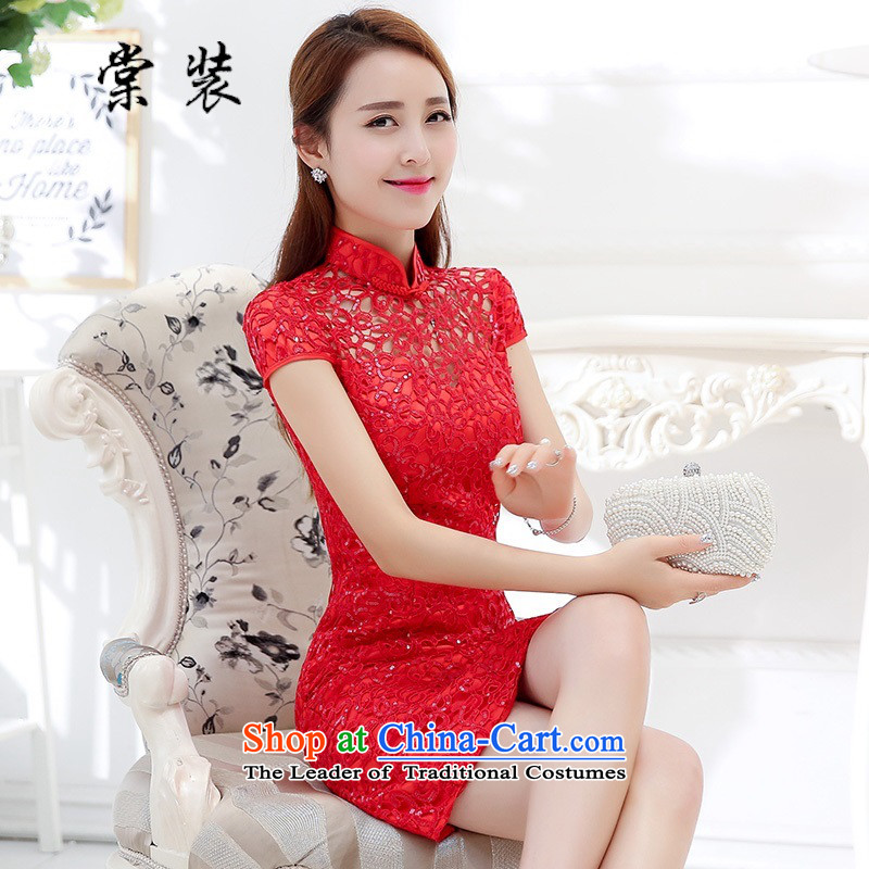 Install the new bride-tong bows services red lace stylish classic qipao Sau San graceful dress?HSZM1576?RED?M