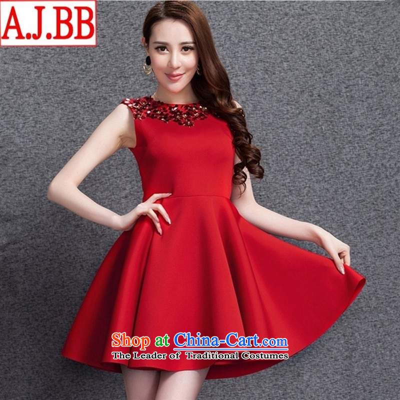 The Black Butterfly European site even bride small dresses 2015 annual meeting services space cotton vest skirt larger autumn and winter dresses red?XL