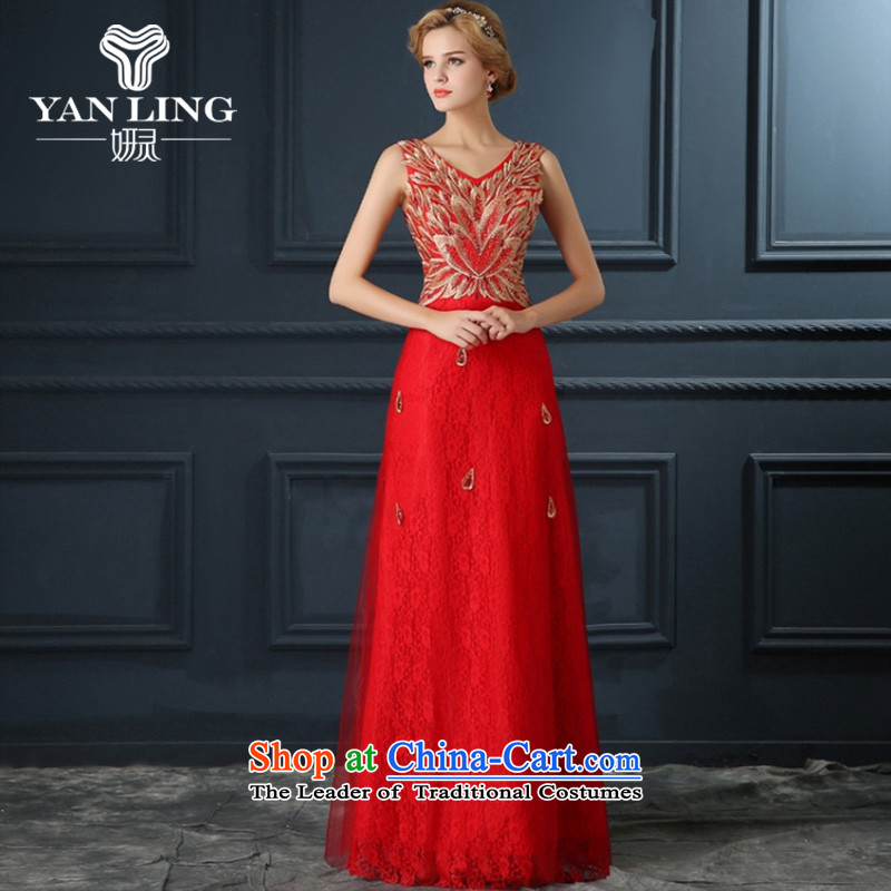 The bride V-Neck bows Annual Dinner service wedding dresses performances small qipao 2015 new marriage gown red聽L