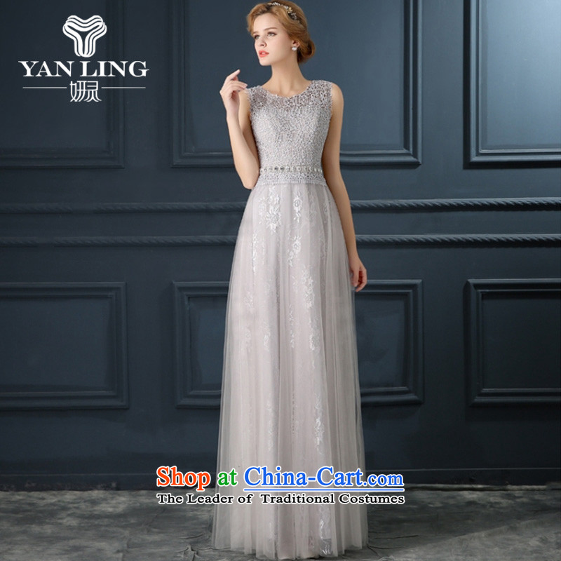 2015 summer evening dresses new moderator dress female long drink one field shoulder Gray Autumn lace bride replacing?XL