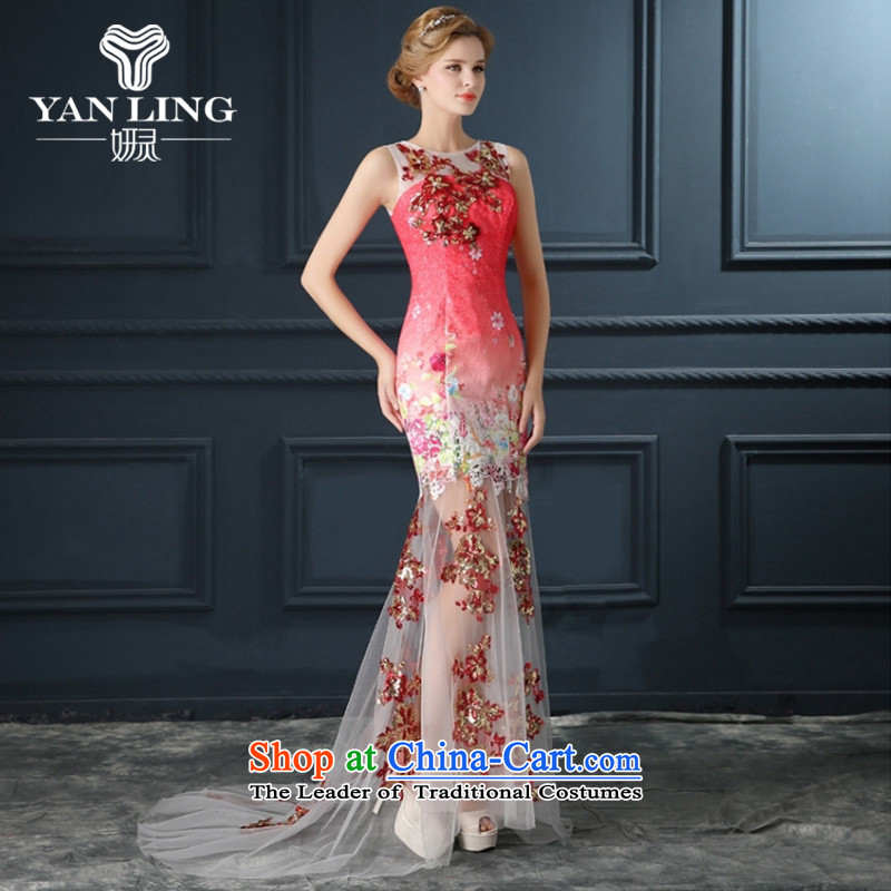 2015 New Red Dress long graphics thin banquet bridesmaid service long after the former short wedding dresses fall under the auspices of?M