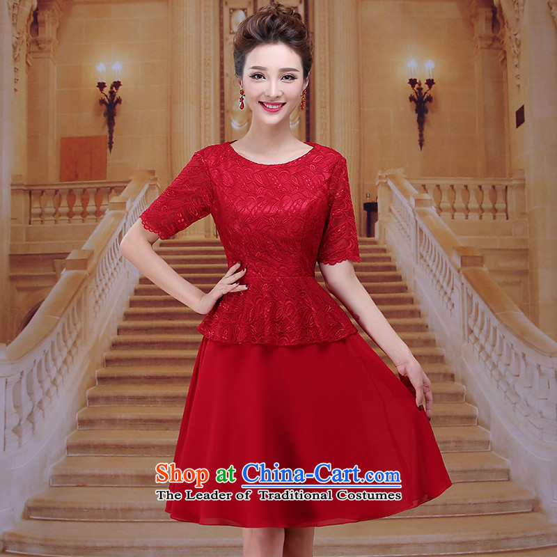 Tim hates makeup and new evening dresses long marriages bows services wedding dresses in cuff with short skirt brides mother dress evening dresses and winter clothing LF034 presided over dark red tailored does not allow