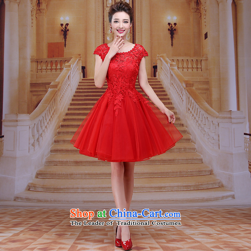 Tim red makeup bridesmaids new evening dress short skirt marriages bows to winter wedding dresses red long gown annual meeting chaired the bride clothing LF036 RED L