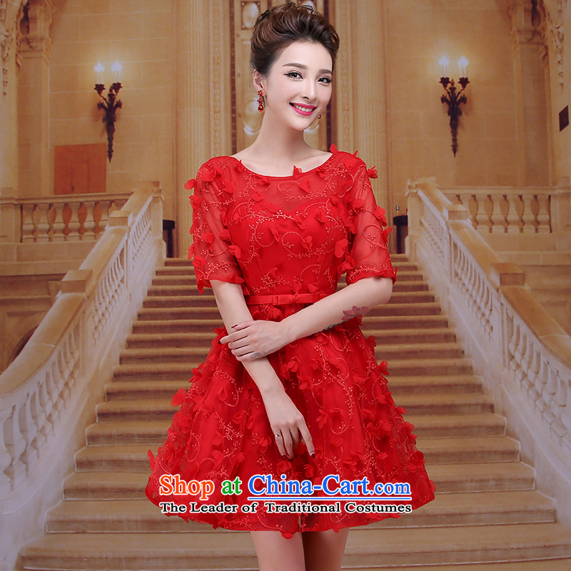 Tim hates makeup and new evening dresses bridesmaid makeup ball marriages bows to the winter wedding dresses in cuff short skirts bride dress lace evening dress LF01 presided over the red tailored does not allow
