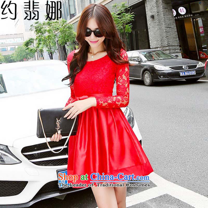 The�2015 autumn Jadeite Jade about women lace stitching of lap Sau San Korean bon bon skirt long-sleeved daily dress dresses�979�red�XXL