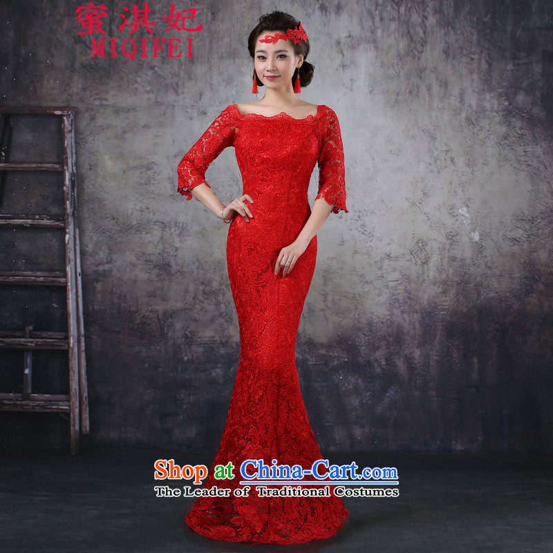 Honey Qi princess of?autumn and winter 2015 new marriage Sau San crowsfoot long bride bows services word red qipao gown female RED?M shoulder