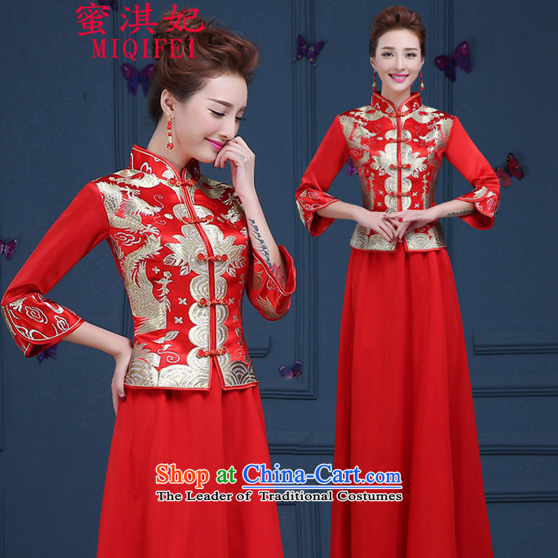 Honey Qi princess of?autumn and winter 2015 New Chinese style wedding services wo brides Soo-embroidered dress marriage dragon use autumn and winter long long-sleeved red cheongsam red?S