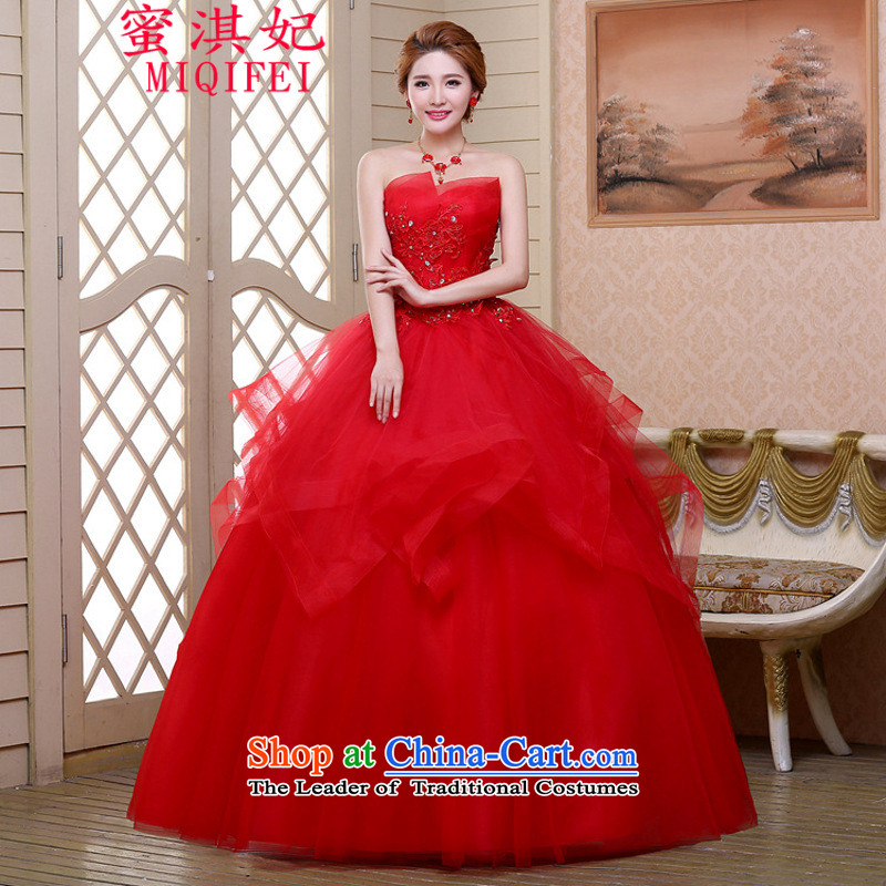 Honey Qi princess of?autumn and winter 2015 new festive red bon bon skirt wedding dresses marriages long gauze wedding dress their children?s books red