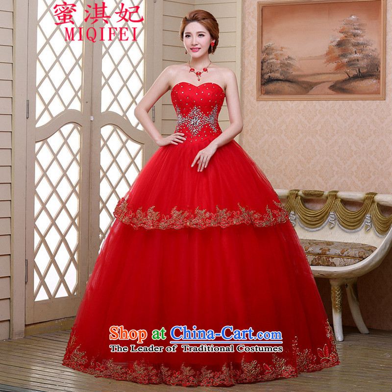 Honey Qi princess of autumn and winter 2015 new gauze marriages wedding wiping the chest with a couplet bon bon skirt wedding dress red S book