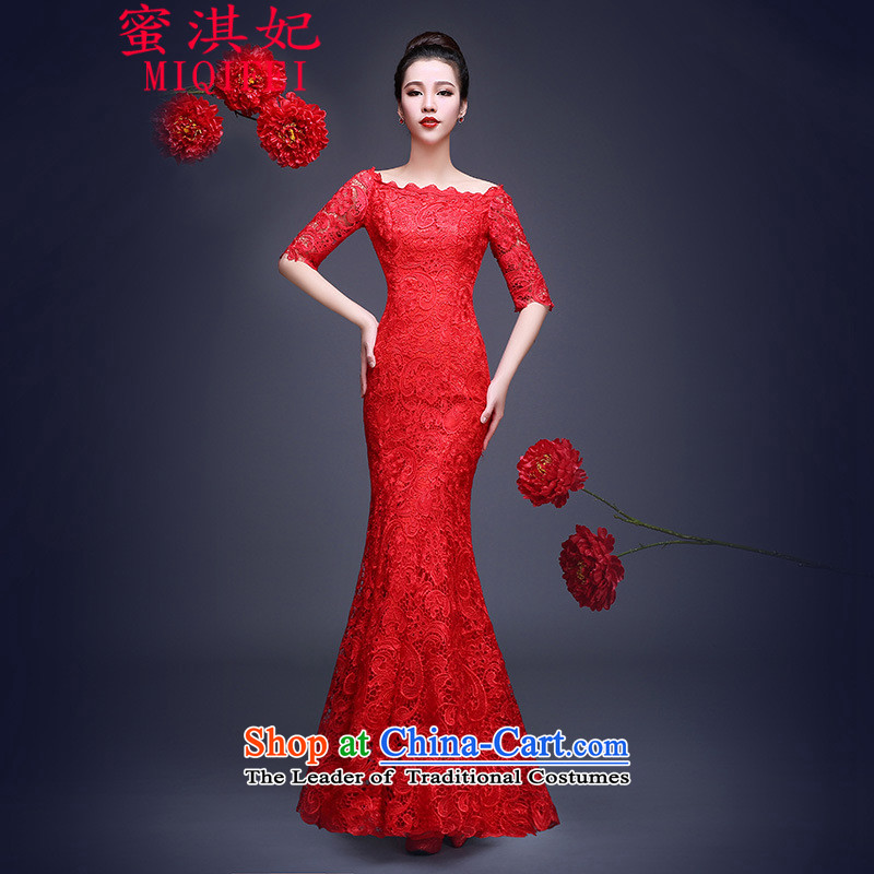Honey Qi princess of?autumn and winter 2015 new bride bows services crowsfoot long gown lace a shoulder red dress field cheongsam dress RED?M marriage