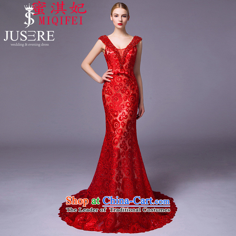 Honey Qi princess of?autumn and winter 2015 New Europe and the upscale dress autumn and winter new bride crowsfoot red lace dinner dress red spot foreign trade 10