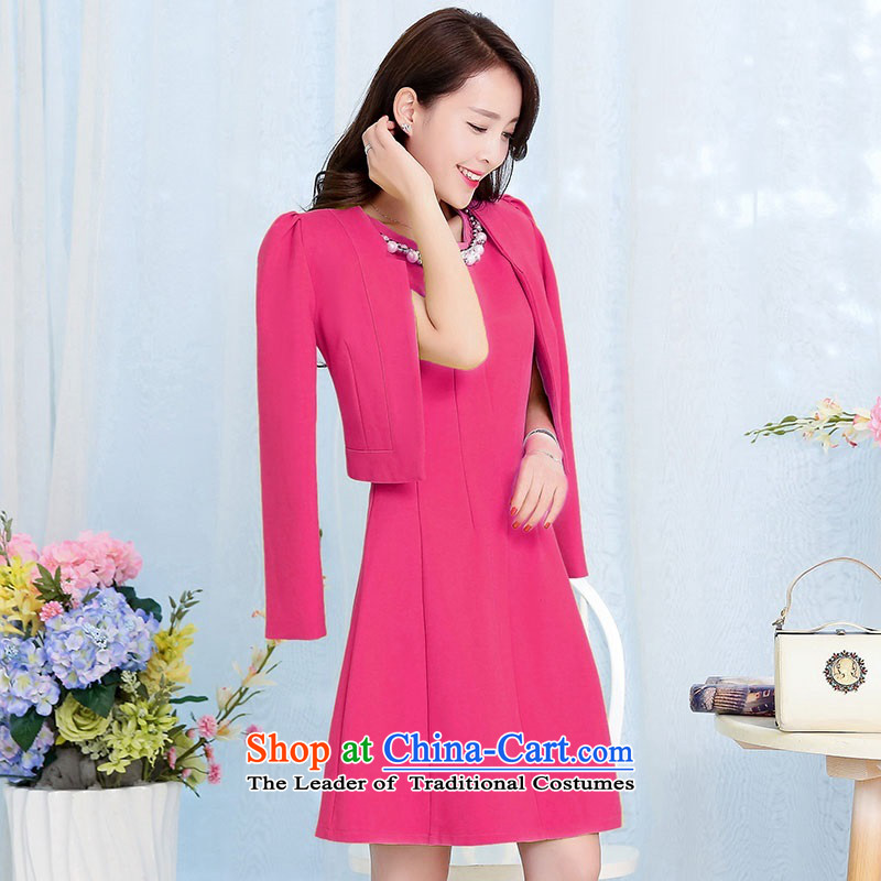 2015 Autumn and Winter Ms. new large red two kits bridal dresses evening dresses temperament Sau San video thin bride skirt Princess Bride stylish bows services Skirts 1 deep red XXXL better