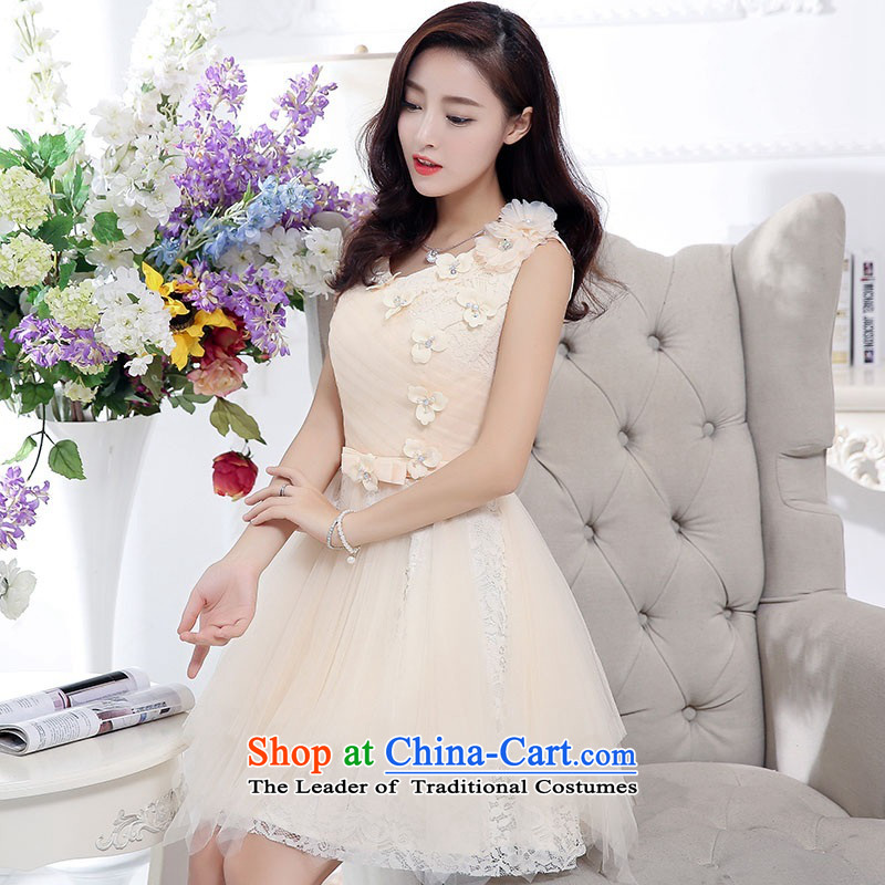 2015 Autumn and Winter, noble and elegant lace dresses bridal services in evening dress long temperament lady flowers adorned thin graphics Sau San Princess skirt bon bon skirt beige?M