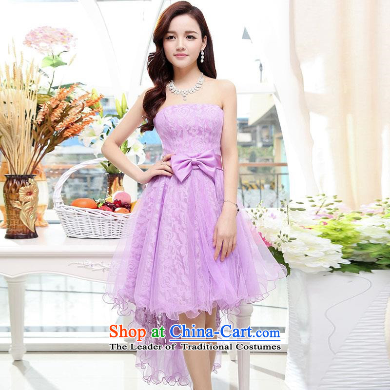 Upscale dress2015 Summer new anointed chest dresses Dress Short long after the former bon bon skirt wrapped scoops gentlewoman wedding dress in Long PurpleL