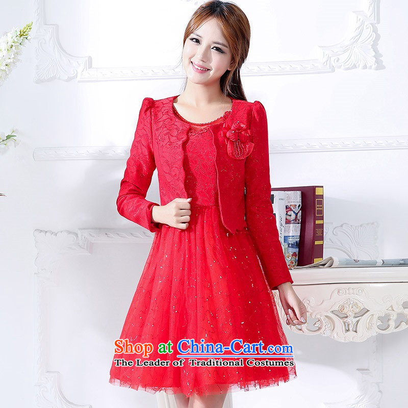 2015 Autumn and winter in the new president of the Red long two kits bridal dresses video thin banquet service     temperament princess skirt Fashion bows service performance dress 1 red?L