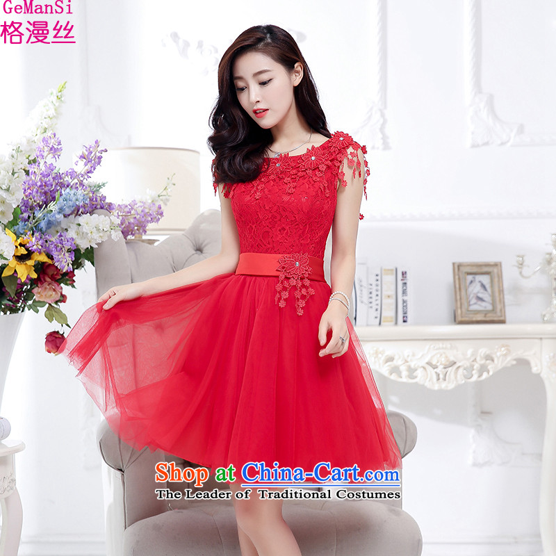 In the?autumn of 2015, the population of Castores Magi GEMANSI load new bride back door dresses and sisters bows bridesmaid dress fur shawl lace dresses dress red?S