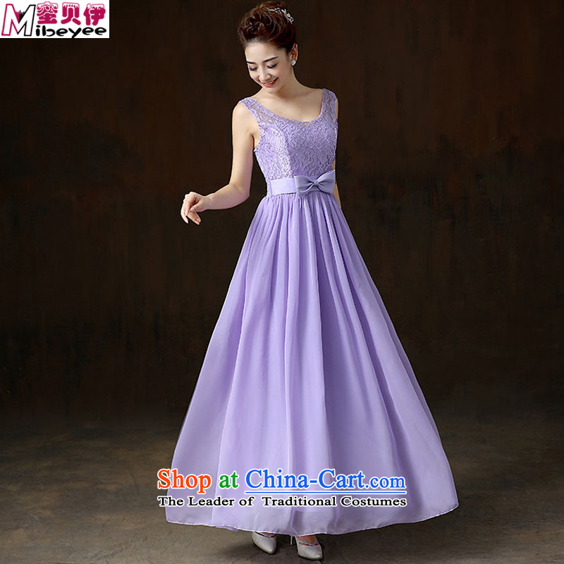 Beely 2015 Autumn honey decorated in a lovely big bow tie lace stitching vest skirt long skirt dress moderator services marriage bridesmaid skirt evening dress Annual Show Purple