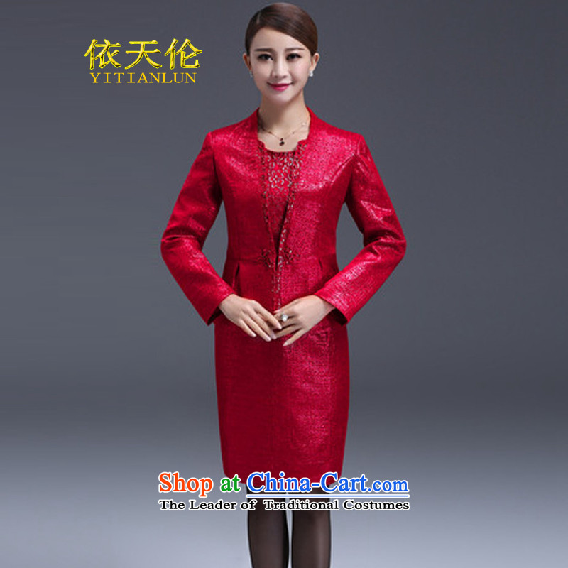 In accordance with the 2015 autumn and winter Tianlun Songhe large wedding dresses in women's mother-in older dresses two kit skirt red?XXL
