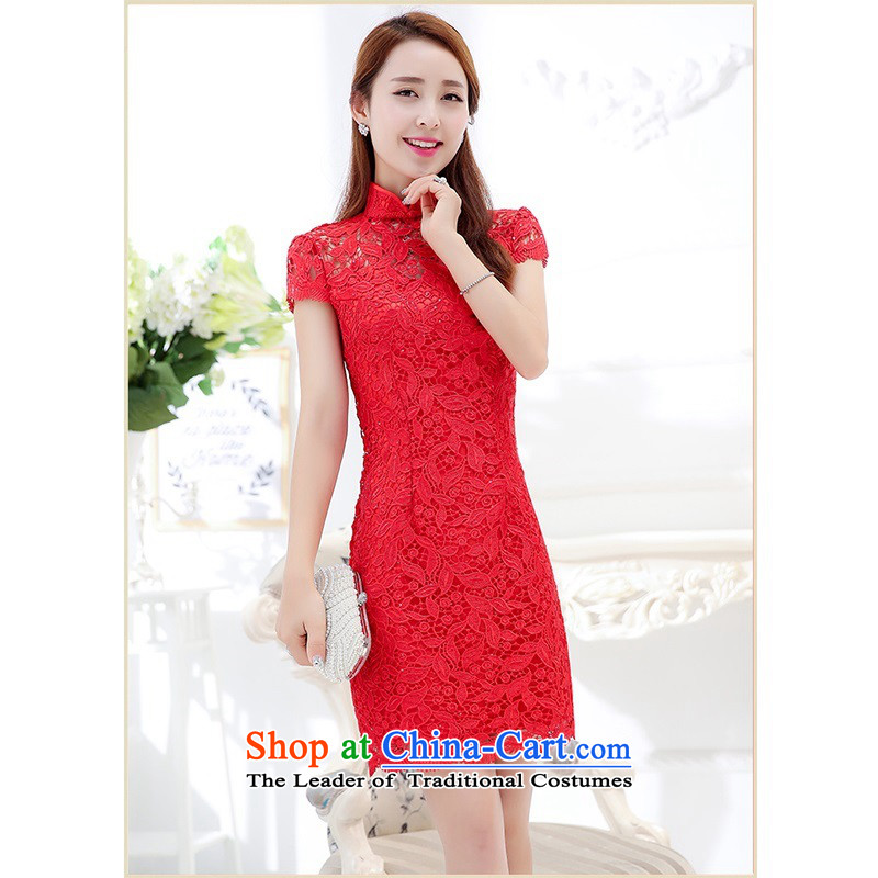 Upscale dress?2015 Summer bride cheongsam dress package and short-sleeved gown red lace high collar bridesmaid wedding dresses bows to Sau San long in the video thin red?L