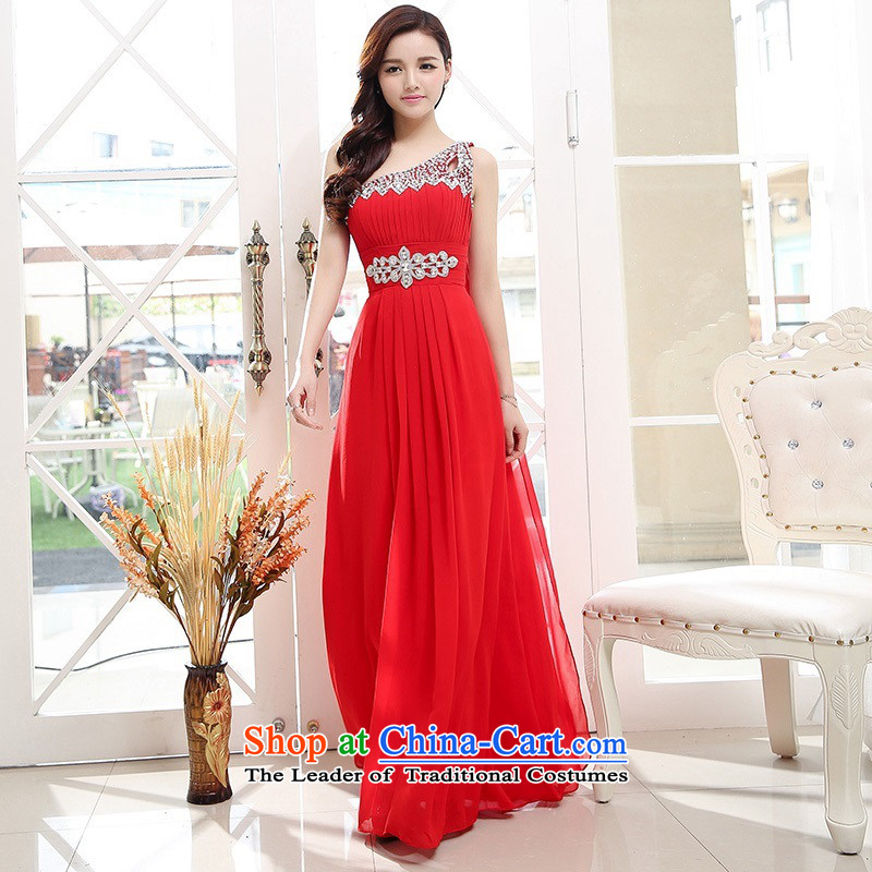Upscale dress?Summer 2015 new ultra long skirt dress single Shoulder Strap-to-ceiling petticoats evening dresses RED?M