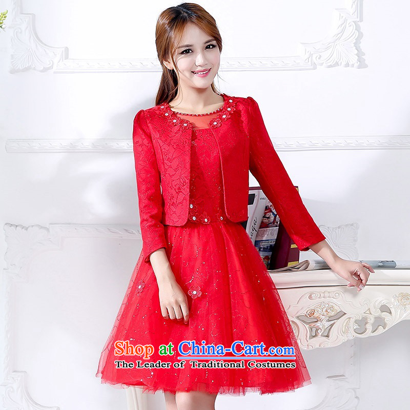 The 2015 autumn and winter Ms. new large red two kits in long bridal dresses bon bon skirt thin dress Sau San video banquet service will serve a drink 1 red XL
