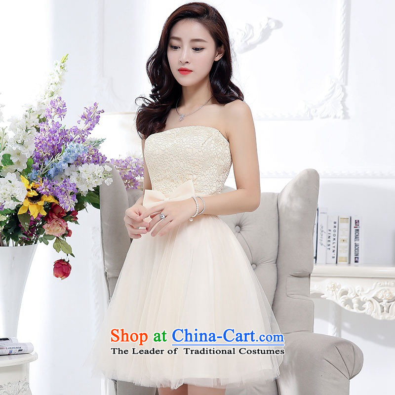 2015 Autumn and Winter, stylish and simple with chest lace dresses bridal services in the medium to long term, temperament Sau San bon bon skirt gauze princess skirt bow tie foutune bridesmaid services beige?XL
