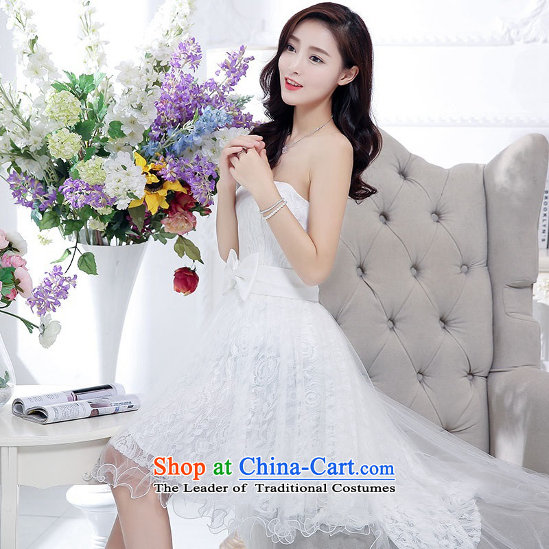 2015 Autumn and Winter, stylish Sau San Foutune Bow Ties With chest lace dresses Bridal Services evening dresses temperament gentlewoman long skirt as Princess skirt sweet bridesmaid services white?L