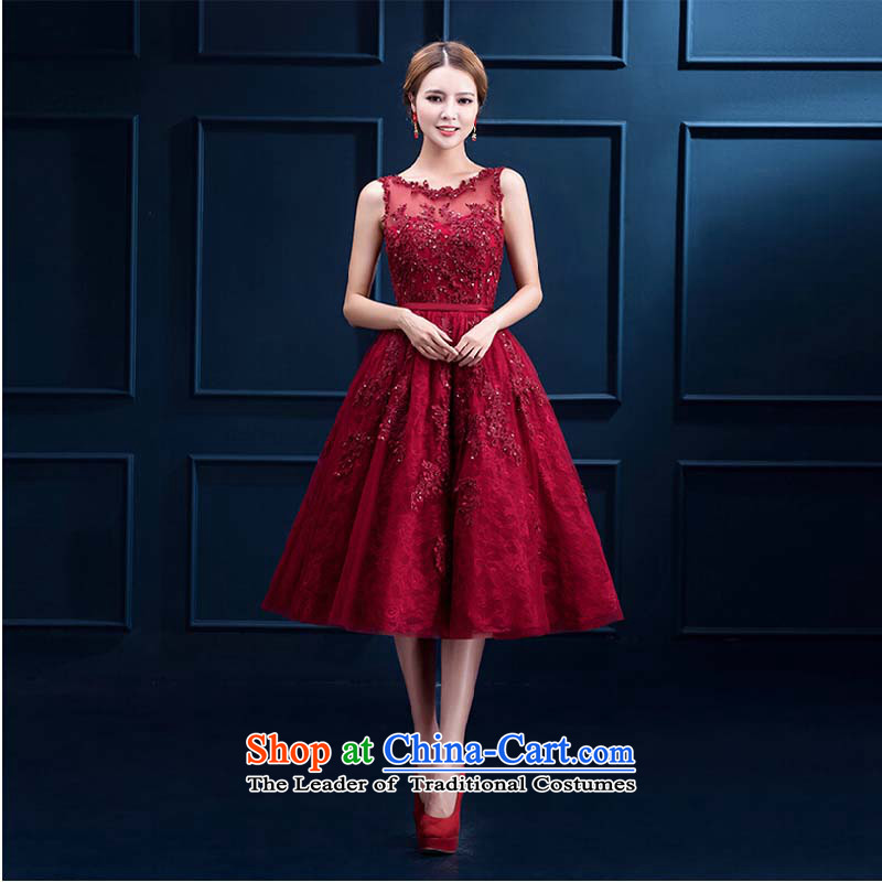 Pure Love bamboo yarn bows services fall 2015 new red lace in long banquet bows dress marriages evening dresses 001) Dark Red Winter?S