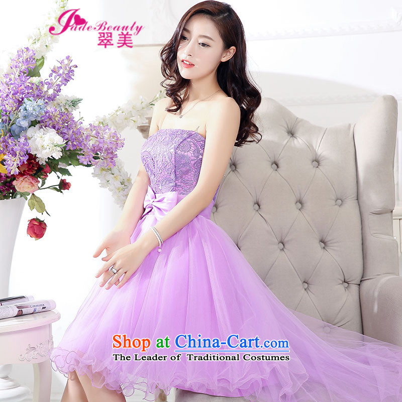 The Hong Kong 2015 autumn and winter Western Wind sexy fairies lace straps and chest gauze dovetail bon bon skirt long after the former short skirt dress purple XL
