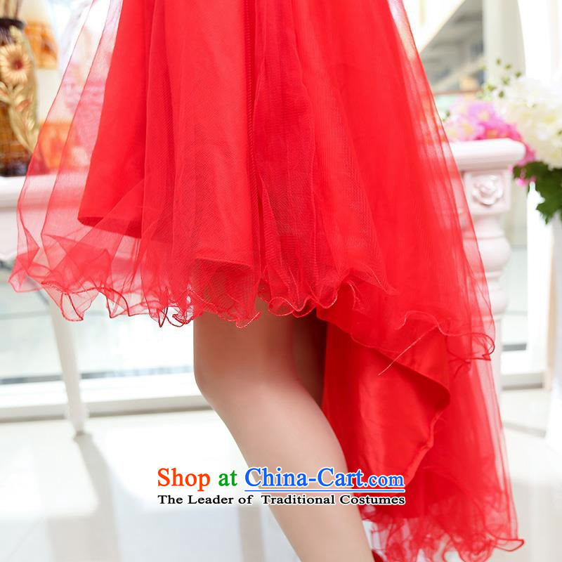 Upscale dress large red wedding dresses etiquette dress single shoulder strap lace bon bon skirt long tail princess skirt 2015 Summer New Red XL,UYUK,,, shopping on the Internet