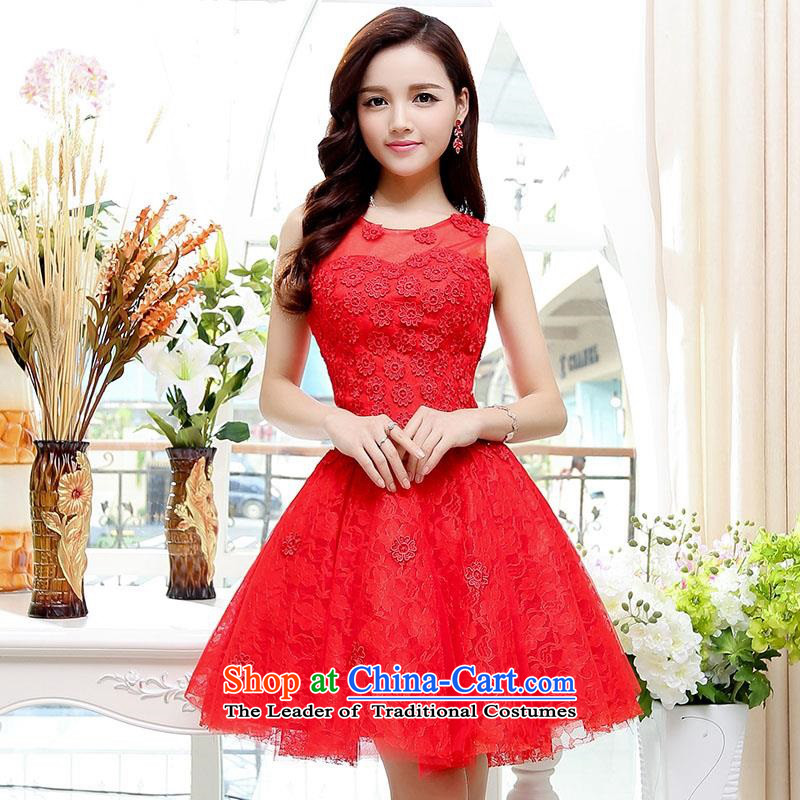 Upscale dress�2015 Summer new lace dresses dress like Susy Nagle sleeveless bon bon skirt video thin Princess Sau San skirt banquet etiquette replacing botanists skirt red�S