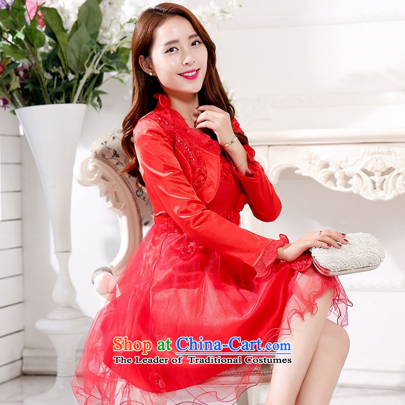 2015 Autumn and Winter Ms. New Red two kits strap bridal dresses Sau San video thin bon bon skirt banquet dinner dress in long_ bows bridesmaid services 1 red聽L