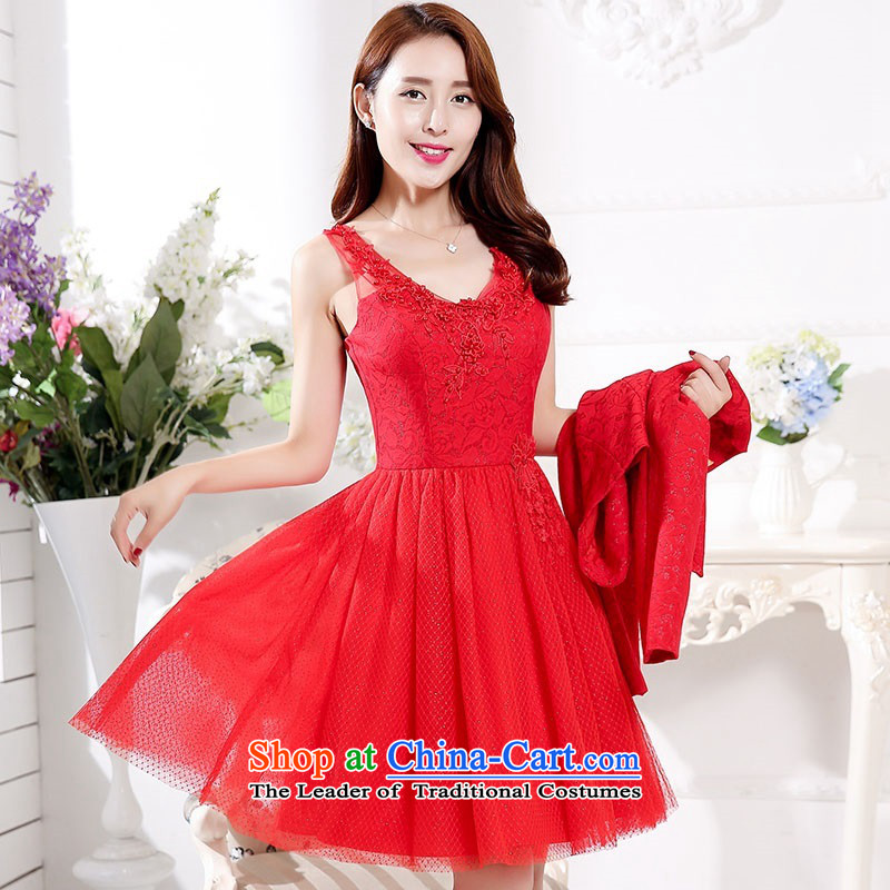 2015 Autumn and Winter Ms. new large red two kits V-Neck evening dress bridal dresses lace banquet service bridal dresses performances dress bridesmaid services 1 temperament red?L