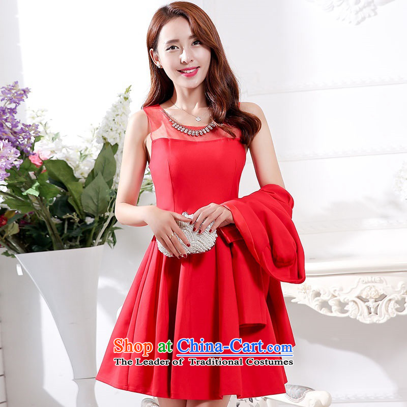 2015 Autumn and Winter Ms. new large red in the medium to long term of European root of two kits bridal dresses video thin banquet service     temperament gentlewoman bridesmaid will serve 1 redXL