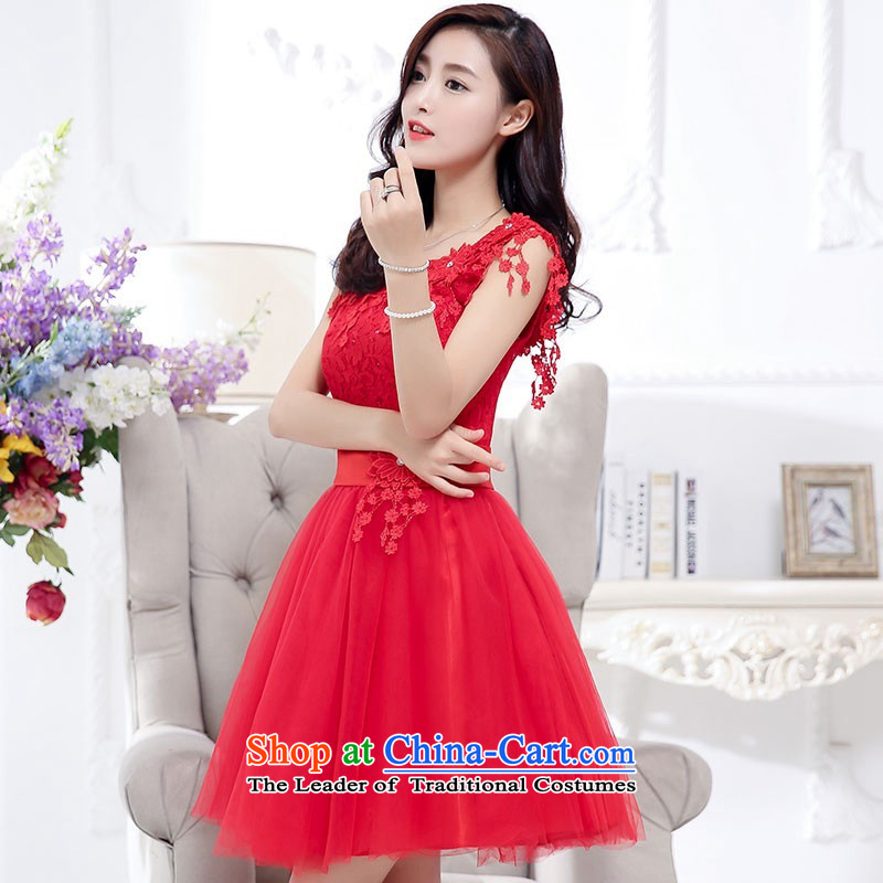 2015 Autumn and Winter, sweet wind in aristocratic long skirt dresses bon bon stylish Transfer round-neck collar princess skirt rabbit hair shawl two kits gauze dresses evening dresses red聽XL