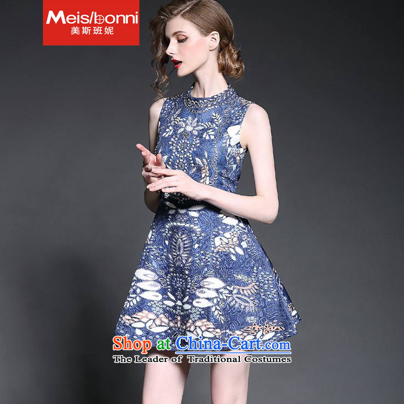 The United States at the?autumn 2015 Nail Pearl Connie diamond jacquard vest skirt stamp Mock-neck Sau San foutune bon bon forming the sleeveless dresses 5CLY Blue?M