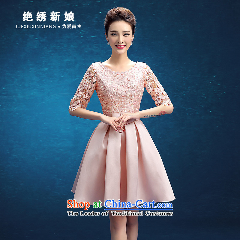 Embroidered bride�2015 winter is the new Korean short word, shoulder graphics thin bride banquet evening dresses pink�M�Suzhou Shipment