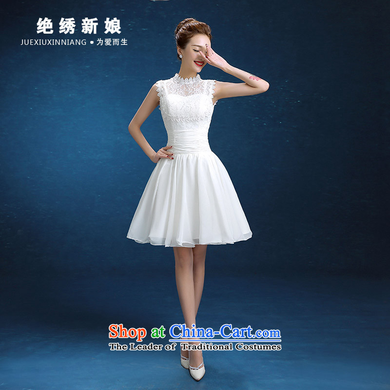 Embroidered bride 2015 winter is the new Korean short word, shoulder larger video thin bride banquet dinner dress champagne color L Suzhou Shipment