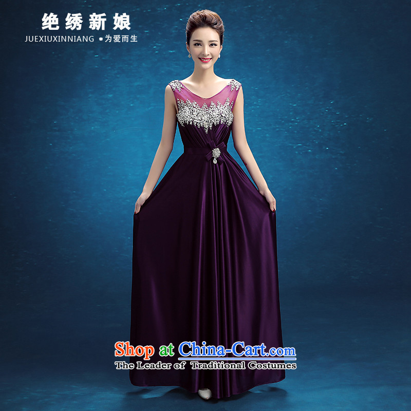 Embroidered brides is?2015 autumn and winter new Korean version of Word will shoulder the bride banquet evening dresses purple?S?Suzhou Shipment