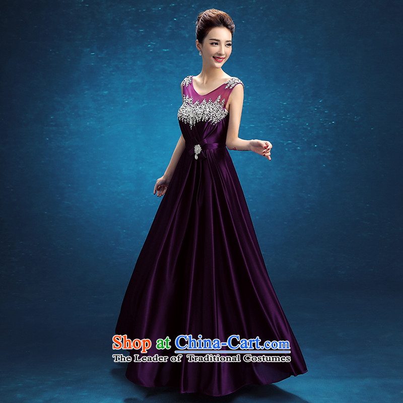 Embroidered brides is 2015 autumn and winter new Korean version of Word will shoulder the bride banquet evening dresses purple shipment, S suzhou embroidery bride shopping on the Internet has been pressed.