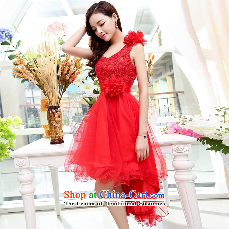 Upscale dress large red wedding dresses etiquette dress single shoulder strap lace bon bon skirt long tail princess skirt 2015 Summer New Red L