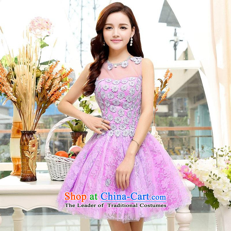 Upscale dress聽2015 Summer new lace dresses dress like Susy Nagle sleeveless bon bon skirt video thin Princess Sau San skirt banquet etiquette replacing botanists skirt purple聽S