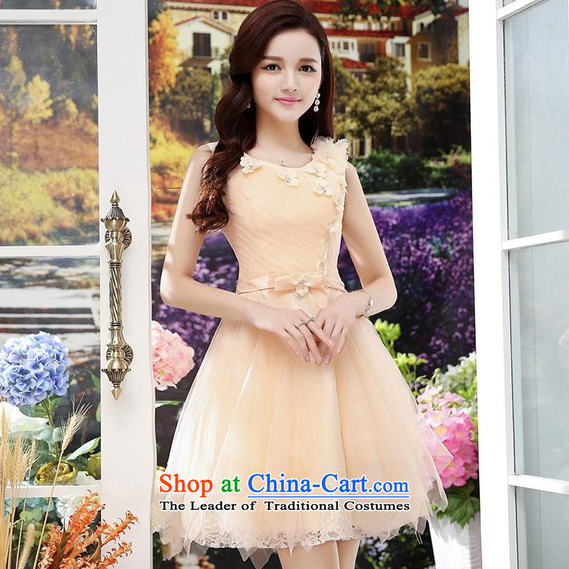 Summer 2015 new wedding dresses dress sleeveless lace bon bon skirt lady princess skirt elasticated externally accessible adjustment apricot L